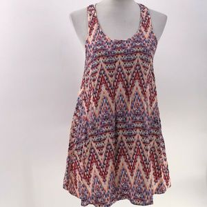 Forever 21 printed tunic tank top crochet back M